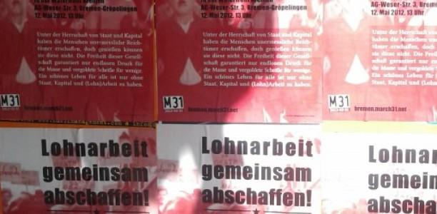 12. Mai, 13 Uhr, Kundgebung: Lohnarbeit gemeinsam abschaffen!