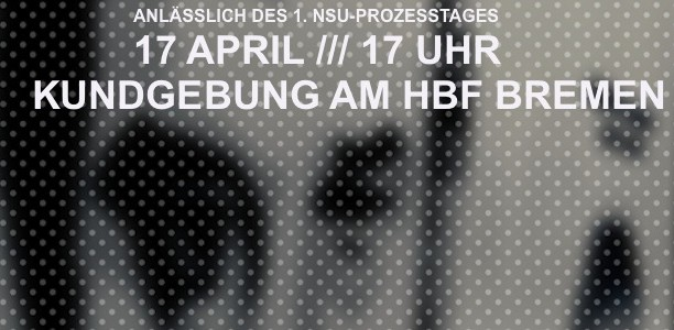 17. April, Bahnhofsvorplatz: Gegen Naziterror, staatlichen und alltäglichen Rassismus!
