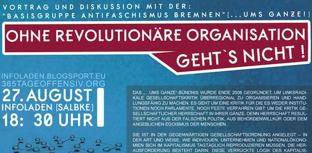 27. August, Magdeburg: Ohne revolutionäre Organisierung geht's nicht.