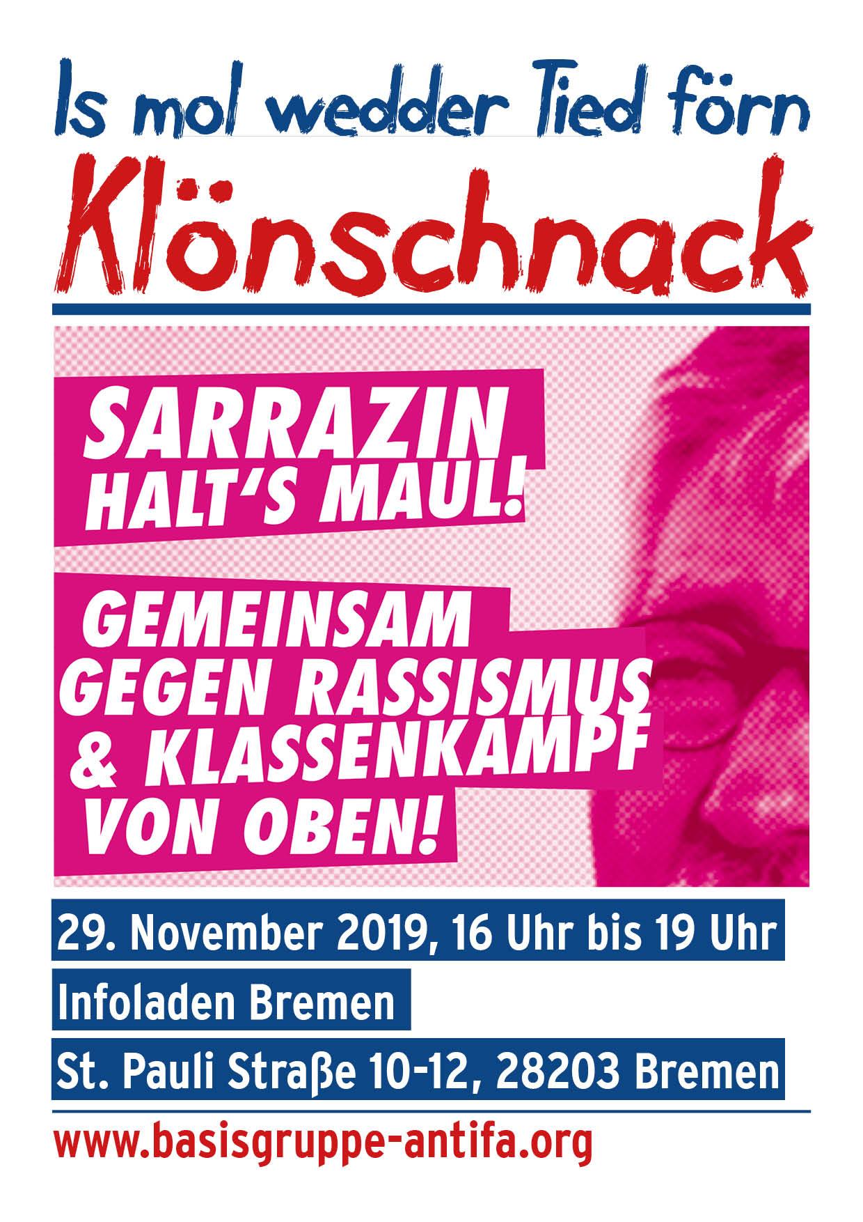 Sarrazin halt's Maul! Is mol wedder Tiet förn Klönschnack @ Infoladen Bremen | Bremen | Bremen | Deutschland