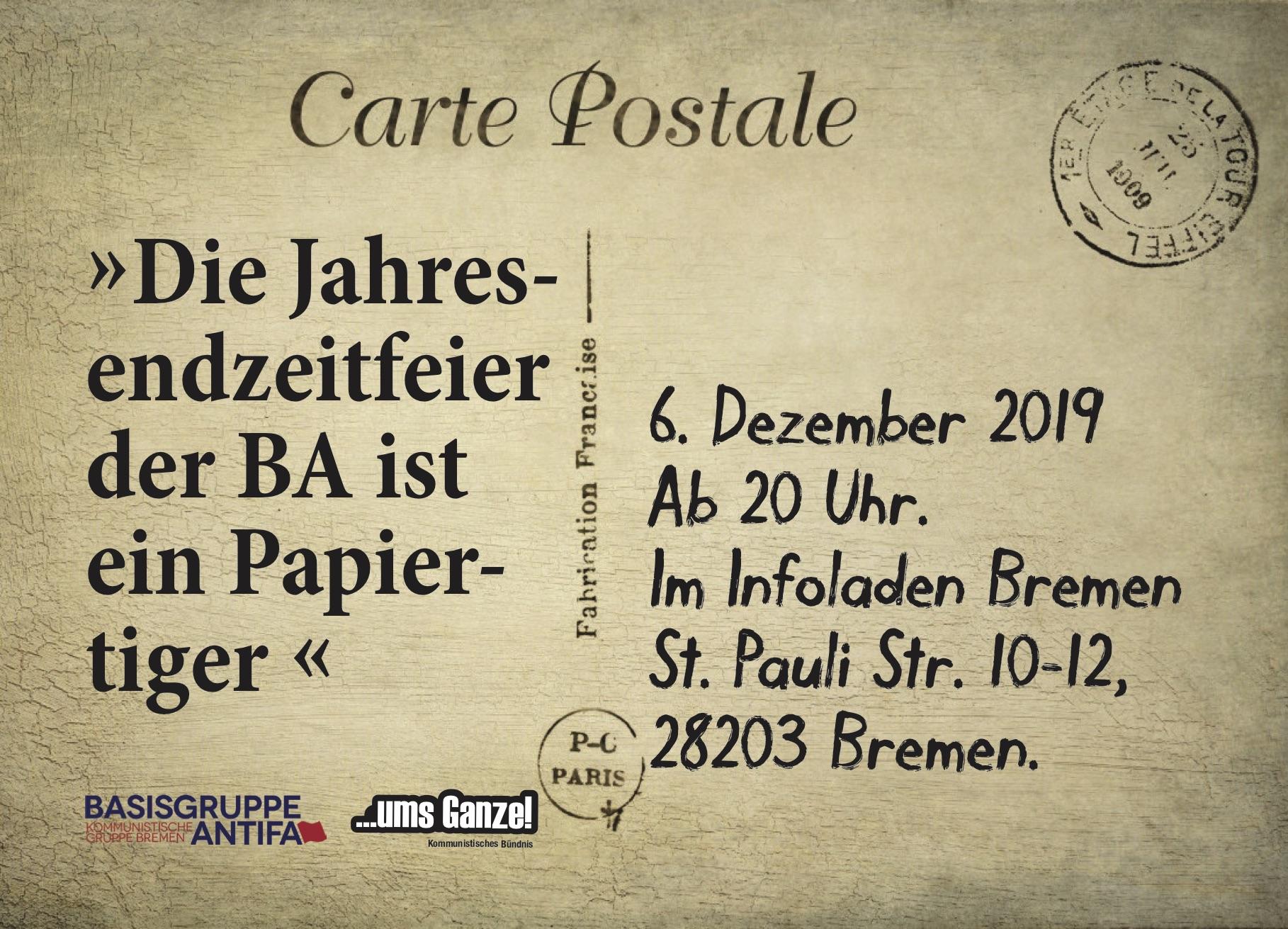 ❝Die Jahresendzeitfeier der BA ist ein Papiertiger❞ @ Infoladen Bremen | Bremen | Bremen | Deutschland