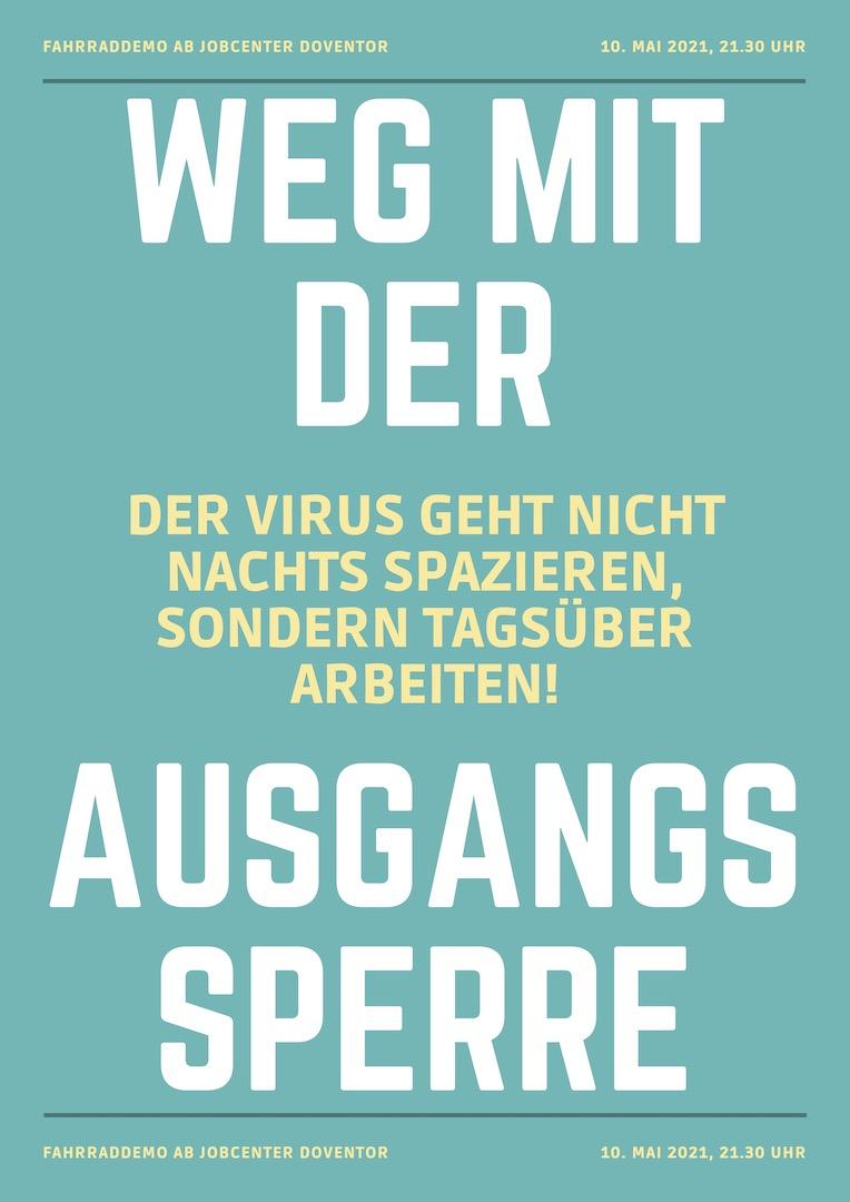 Weg mit der Ausgangssperre: Kleine Wohnung, kein Balkon, euren Abstand können wir uns nicht leisten! @ Jobcenter Doventor | Bremen | Bremen | Deutschland